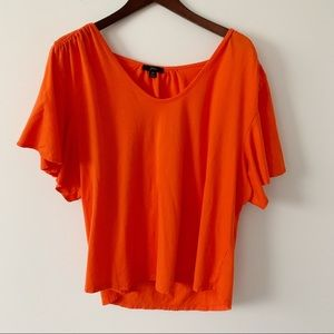 J. Crew 365 3XL Orange Flutter Sleeve Scoopneck